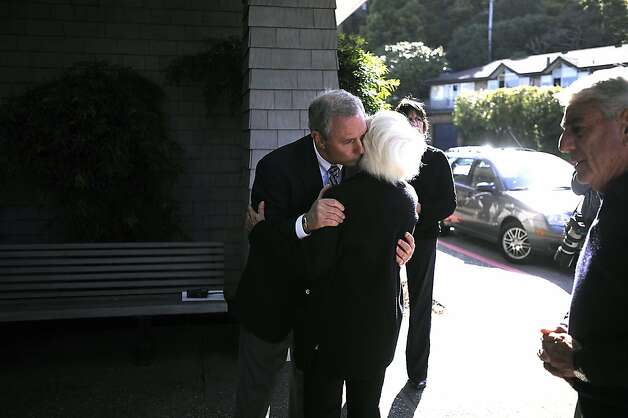 SF Yacht Club General Manager Stephen DePetro greets an unnamed guest.  A vigil was held at the San Francisco Yacht Club in Belvedere, CA Sunday April 15th 2012 Photo: Michael Short, Special To The Chronicle