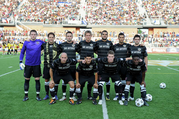 The San Antonio Scorpions starters pose for a photo before the Scorpions' home opener of their inaugural season in the North American Soccer League (NASL) on Sunday, April 15, 2012 at Heroes Stadium. Photo: John Albright, For The Express-News