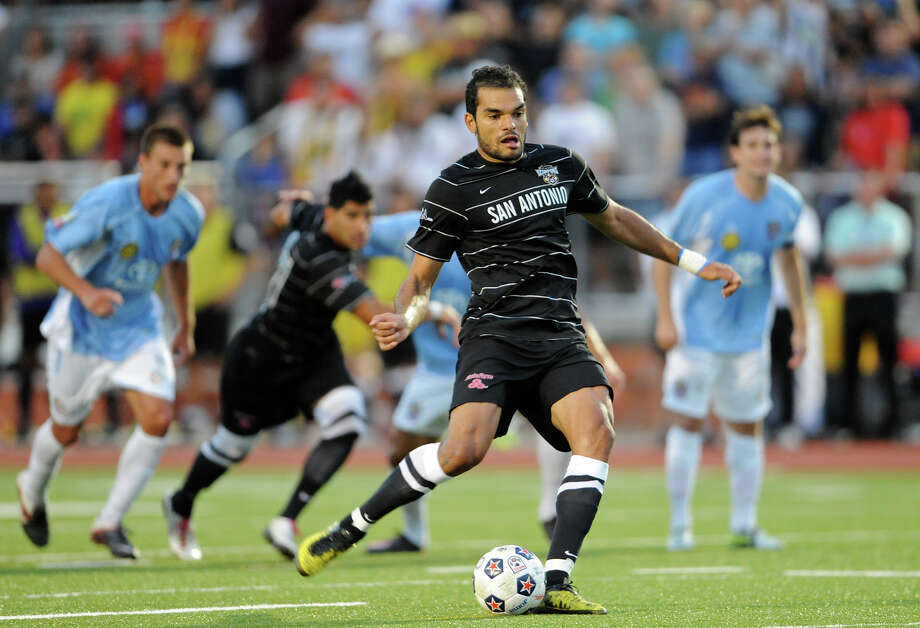 The San Antonio Scorpions' Pablo Campos kicks a penalty kick during the Scorpions' home opener of their inaugural season in the North American Soccer League (NASL) on Sunday, April 15, 2012 at Heroes Stadium. Photo: John Albright, For The Express-News