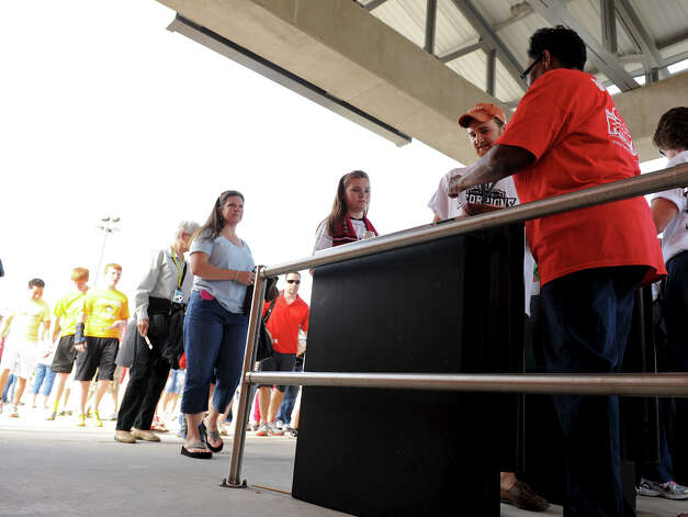San Antonio Scorpions fans file into the stadium before the Scorpions' home opener of their inaugural season in the North American Soccer League (NASL) on Sunday, April 15, 2012 at Heroes Stadium. Photo: John Albright, For The Express-News