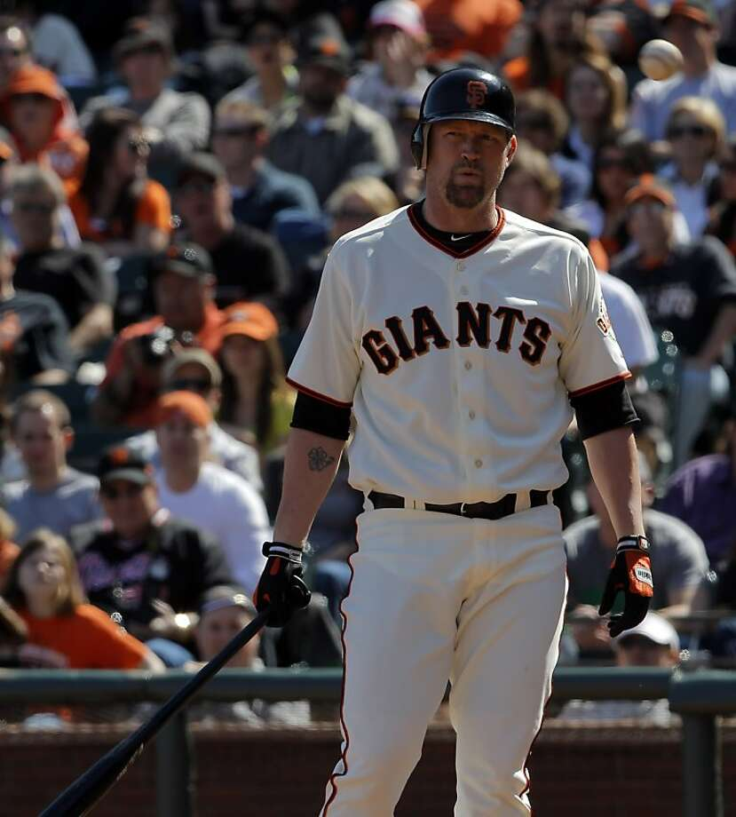 Aubrey Huff reacts to a strike call in his pinch-hit at bat in the seventh inning. Huff flied out with a runner on third. The San Francisco Giants played the Pittsburgh Pirates at AT&T Park in San Francisco, Calif., on Sunday, April 15, 2012. The Giants lost 1-4. Photo: Carlos Avila Gonzalez, The Chronicle