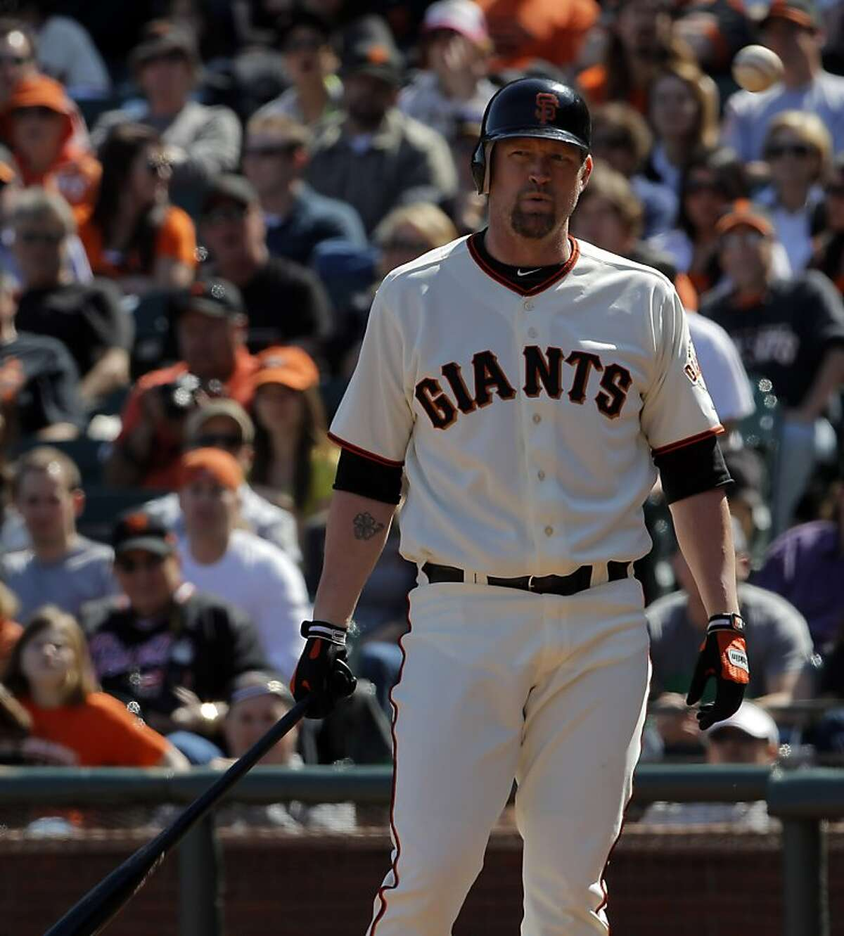 Aubrey Huff reacts to a strike call in his pinch-hit at bat in the seventh inning. Huff flied out with a runner on third. The San Francisco Giants played the Pittsburgh Pirates at AT&T Park in San Francisco, Calif., on Sunday, April 15, 2012. The Giants lost 1-4.