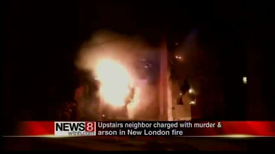 A man has been arrested on murder and arson charges in connection with a New London building fire that left two people dead , officials said Saturday. New London Mayor Daryl Justin Finizio announced late Saturday that 29-year-old Joel Matthews has been arrested on two counts of murder and one count of arson in connection with the Friday fire on Blinman Street. Photo: WTNH