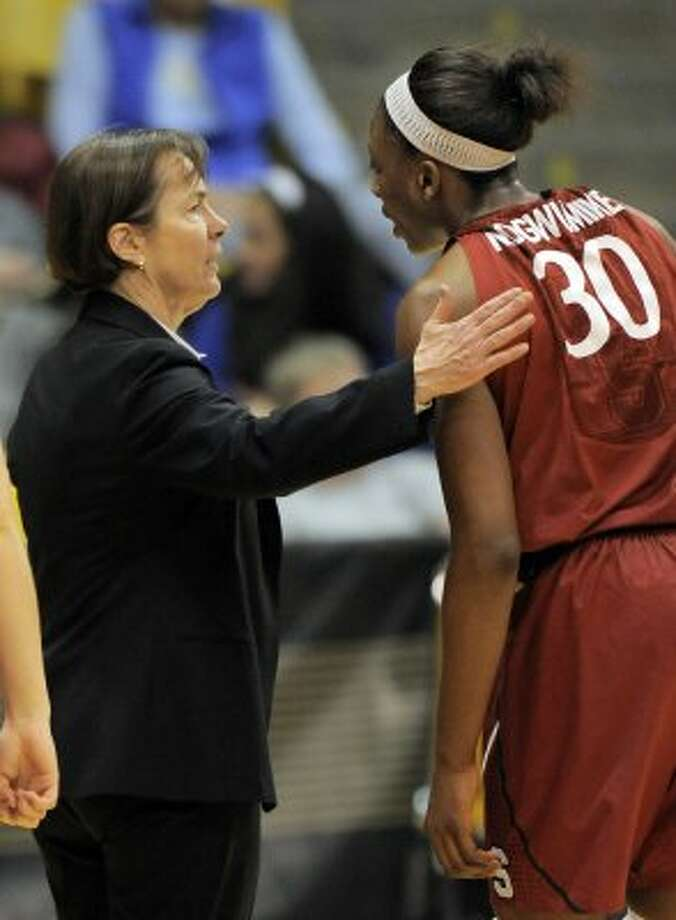 Stanford head coach Tara VanDerveer talks with Nnemkadi Ogwumike (30) during the second half of an NCAA women's college basketball game against Colorado this year. (Jack Dempsey / Associated Press)