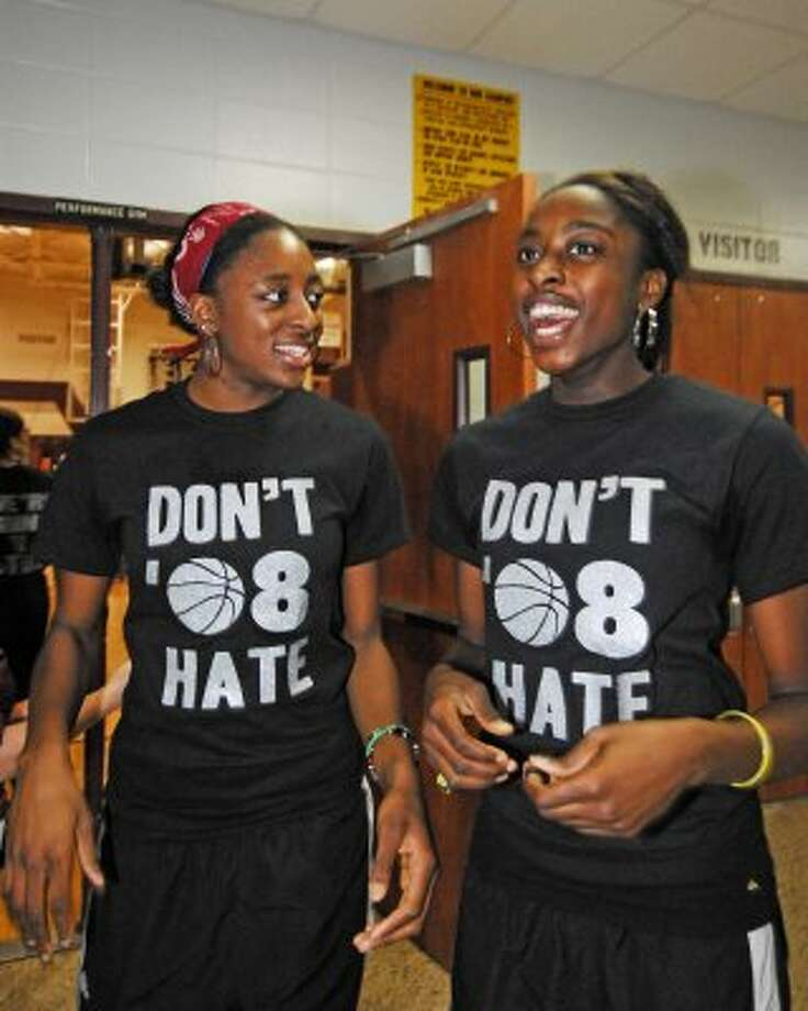 Cy-Fair High School basketball players Nneka Ogwumike and Chiney Ogwumike prepare to board the bus to Austin for the state tournament in 2008. (Tony Bullard / For the Chronicle)
