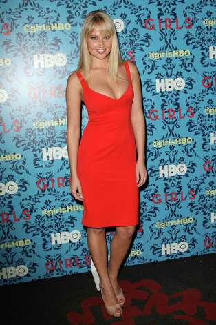 "Model Genevieve Morton poses at the premiere of the HBO original series ""Girls,"" Wednesday, April 4, 2012 in New York. The comedy premieres April 15, at  10:30p.m. EST on HBO. Photo: AP"