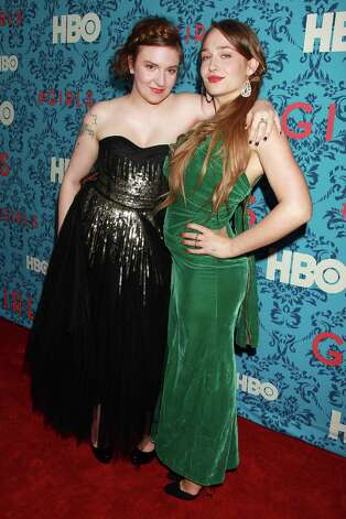 "Actresses Jemima Kirke, right, and Lena Dunham pose at the premiere of the HBO original series ""Girls,"" Wednesday, April 4, 2012 in New York. The comedy premieres April 15, at  10:30p.m. EST on HBO. Photo: AP"