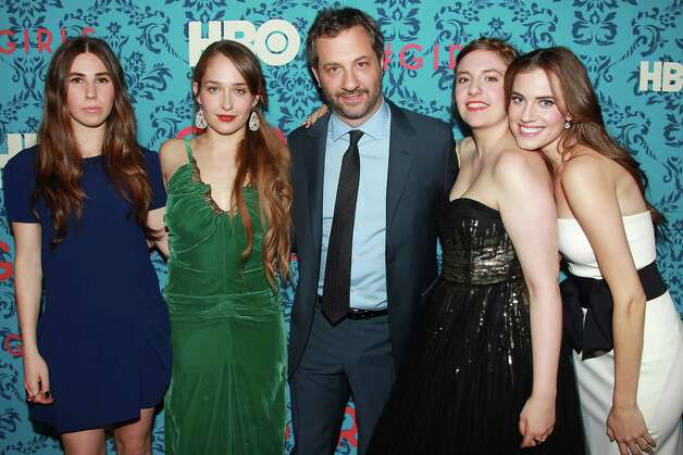 "Priducer Judd Apatow, center, poses with actresses, from left, Zosia Mamet, Jemima Kirke, Lena Dunham and Allison Williams Allison pose at the premiere of the HBO original series ""Girls,"" Wednesday, April 4, 2012 in New York. The comedy premieres April 15, at  10:30p.m. EST on HBO. Photo: AP"