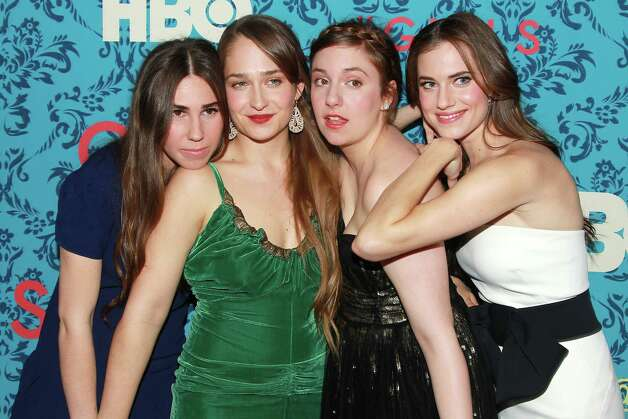 "Actresses, from left, Zosia Mamet, Jemima Kirke, Lena Dunham and Allison Williams Allison pose at the premiere of the HBO original series ""Girls,"" Wednesday, April 4, 2012 in New York. The comedy premieres April 15, at  10:30 p.m. EST on HBO. Photo: AP"