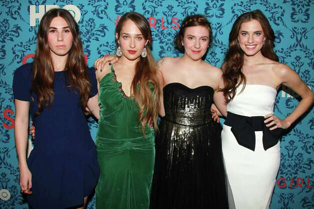 "Actresses, from left, Zosia Mamet, Jemima Kirke, Lena Dunham and Allison Williams Allison pose at the premiere of the HBO original series ""Girls,"" Wednesday, April 4, 2012 in New York. The comedy premieres April 15, at  10:30p.m. EST on HBO. Photo: AP"