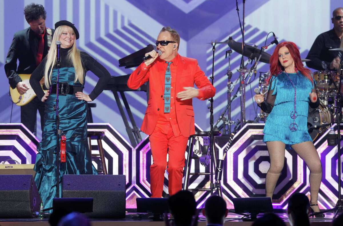 Members of the B-52's, from left, Cindy Wilson, Fred Schneider and Kate Pierson perform during the TV Land Awards, Saturday, April 14, 2012 in New York.