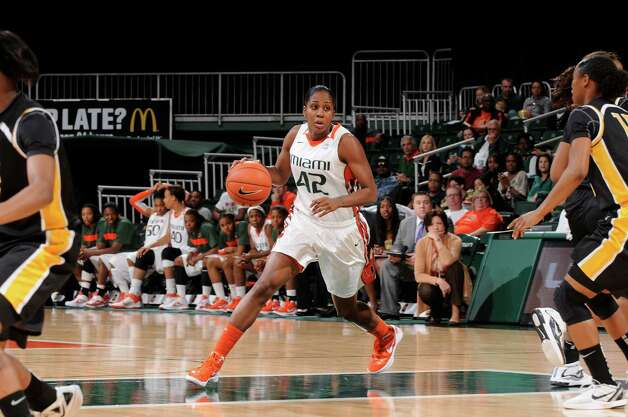 Miami Hurricanes guard Shenise Johnson, No. 42, was drafted by the Silver Stars in the 2012 WNBA Draft. Shown here vs Virginia Commonwealth. Photo credit: HurricaneSports.com Photo: JC Ridley, SAEN / ©JC Ridley/Miami Hurricanes