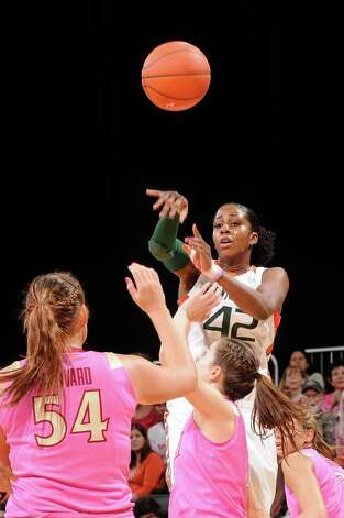 Miami Hurricanes guard Shenise Johnson, No. 42, was drafted by the Silver Stars in the 2012 WNBA Draft. Shown here vs Florida State. Photo credit: HurricaneSports.com Photo: JC Ridley, SAEN / ©JC Ridley/Miami Hurricanes