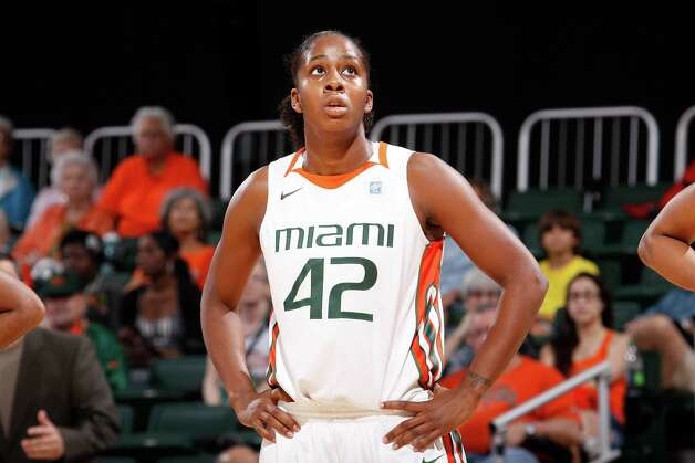 Miami Hurricanes guard Shenise Johnson, No. 42, was drafted by the Silver Stars in the 2012 WNBA Draft. Shown here vs Longwood. Photo credit: HurricaneSports.com Photo: Jessica Marshall, SAEN / ©Jessica Marshall/Caneshooter.com