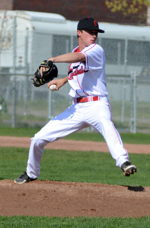 Greenwich's Dylan Callahan (7) pitches during the baseball game against Wilton at Greenwich High School on Monday, Apr. 16, 2012. Photo: Amy Mortensen / Greenwich Time Freelance