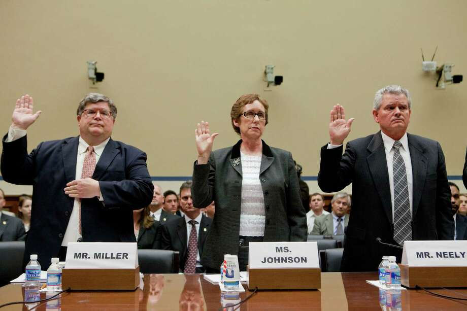 Brian Miller, inspector general of the U.S. General Services Administration; Martha Johnson, former GSA administrator; and Jeff Neely, a regional GSA commissioner, are sworn in Monday at a U.S. House panel hearing on wild spending at the agency. After the oath, Neely invoked his right to remain silent and was excused. Photo: Andrew Harrer / © 2012 Bloomberg Finance LP