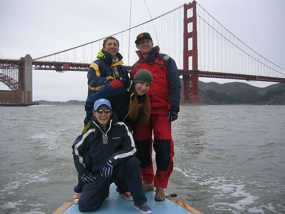Alexis Busch, left, one of four racing-sailboat crewmembers presumed lost in Saturday's accident near the Farallon Islands. Shown with her is Nick Vos, second from left, who survived the accident, along with Busch's brother, Christopher, and his wife, Laura Jane Busch. Photo: Courtesy Christopher Busch