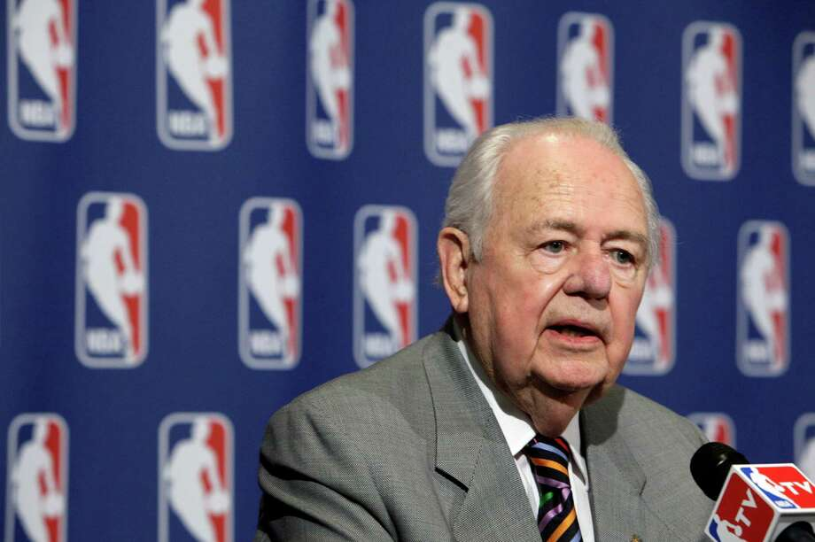 New Orleans Saints owner Tom Benson answers questions at a news conference after the NBA Board of Governors meetings, in New York, Friday, April 13, 2012. Benson brought stability to the Saints nearly three decades ago and now plans to do the same for the Hornets in small-market New Orleans. The Saints' owner agreed Friday to purchase the Hornets from the NBA.  (AP Photo/Richard Drew) Photo: Richard Drew / AP