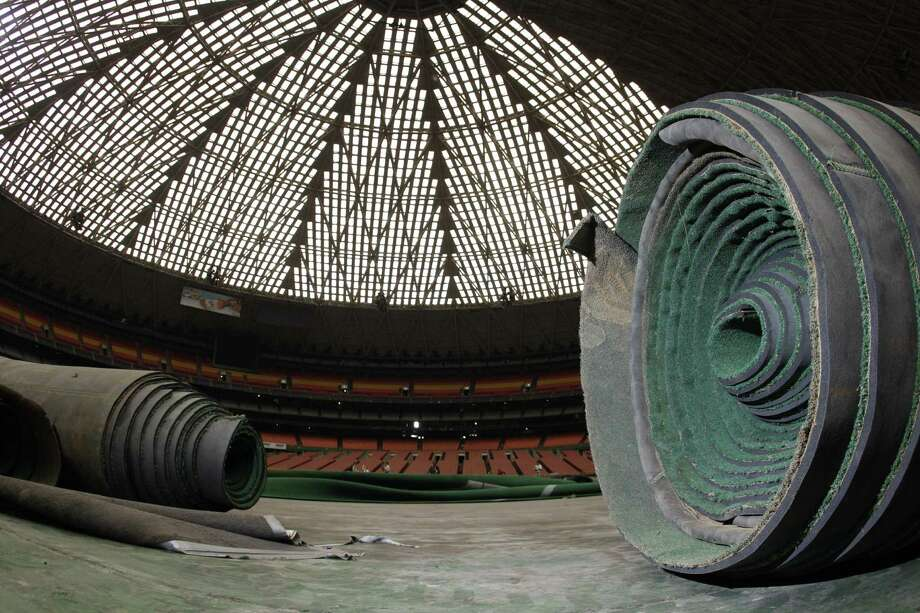 Rolls of Astroturf are still stored inside the Reliant Astrodome, which was opened for a media tour earlier this month. County officials are trying to decide what to do with the landmark - renovate it or tear it down. Photo: Melissa Phillip / © 2012 Houston Chronicle