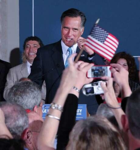 The Independence Hall Tea Party Association in Philadelphia welcomes Mitt Romney on Monday. Photo: Steven M. Falk / Philadelphia Daily News