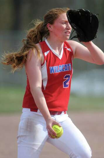 Maple Hill pitcher Maggie Miller throws the ball during a softball game against Chatham on April 16,