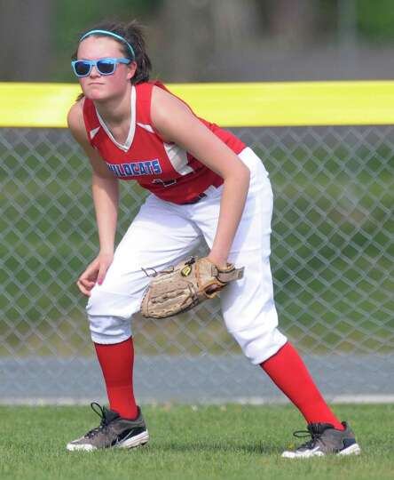 Maple Hill softball player Kayley Fountain gets ready for action in left field during a softball gam