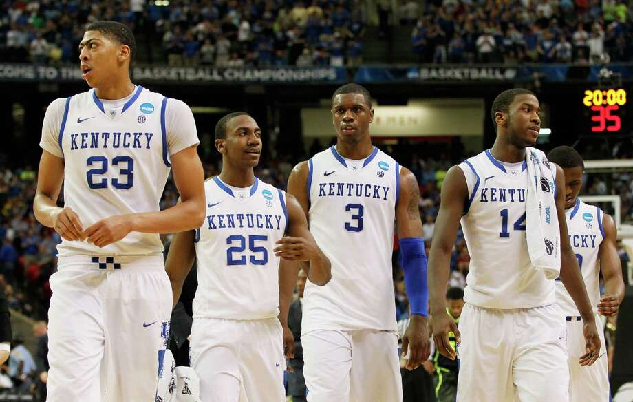 Expect, from left, Anthony Davis, Marquis Teague, Terrence Jones and Michael Kidd-Gilchrist to be joined by Doron Lamb in announcing they're NBA-bound today Photo: Kevin C. Cox / 2012 Getty Images