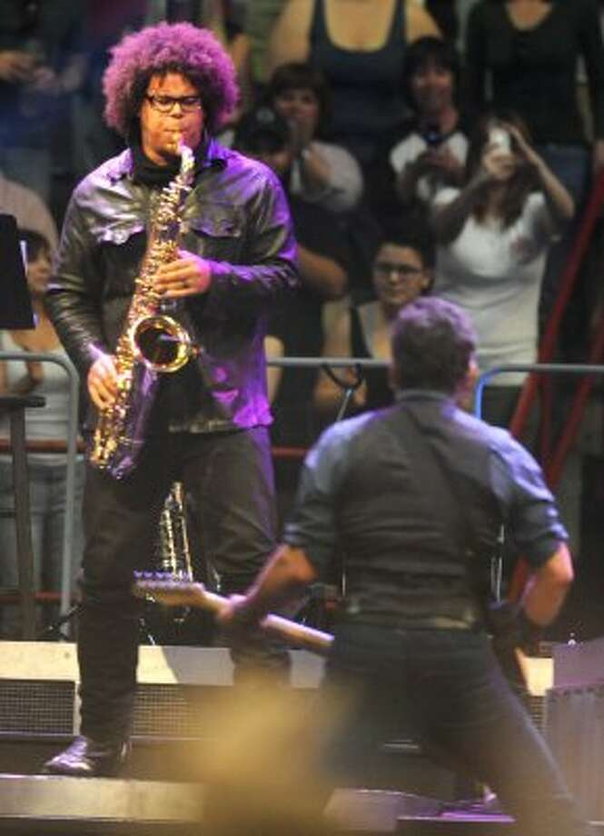 Jake Clemons who replaced his uncle Clarence Clemons in the E Street Band plays the saxaphone with Bruce Springsteen during a sold out concert at the Times Union Center on April 16, 2012 in Albany, N.Y. (Lori Van Buren / Times Union) (Albany Times Union)