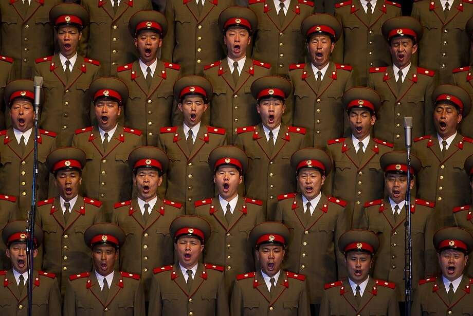 A North Korean choir sings during a concert in Pyongyang on Monday April 16, 2012 to commemorate 100 years since the birth of Kim Il Sung. (AP Photo/David Guttenfelder) Photo: David Guttenfelder, Associated Press