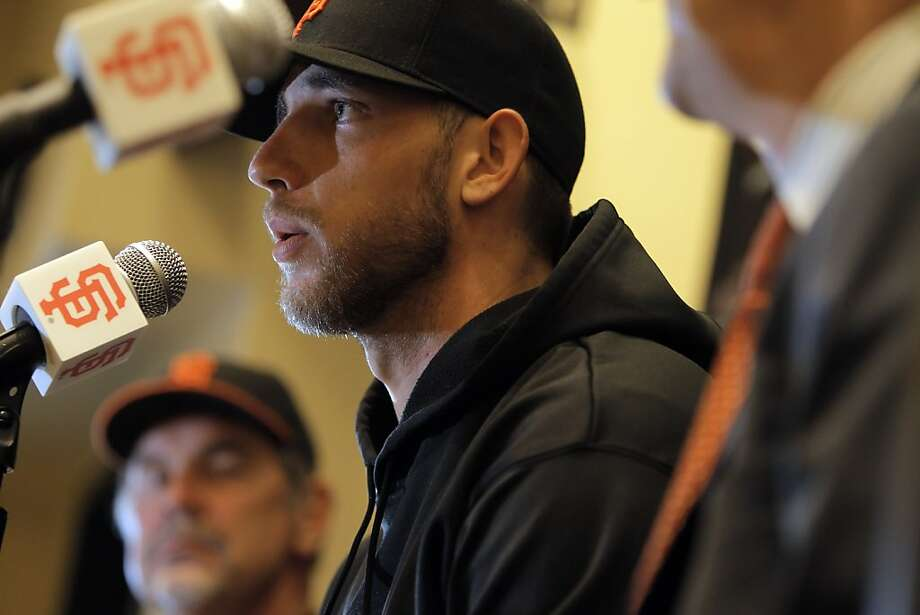 Madison Bumgarner answers questions from the press after the San Francisco Giants announced a 5-year contract extension for the pitcher at AT&T Park in San Francisco, Calif., on Monday, April 16, 2012. Photo: Carlos Avila Gonzalez, The Chronicle