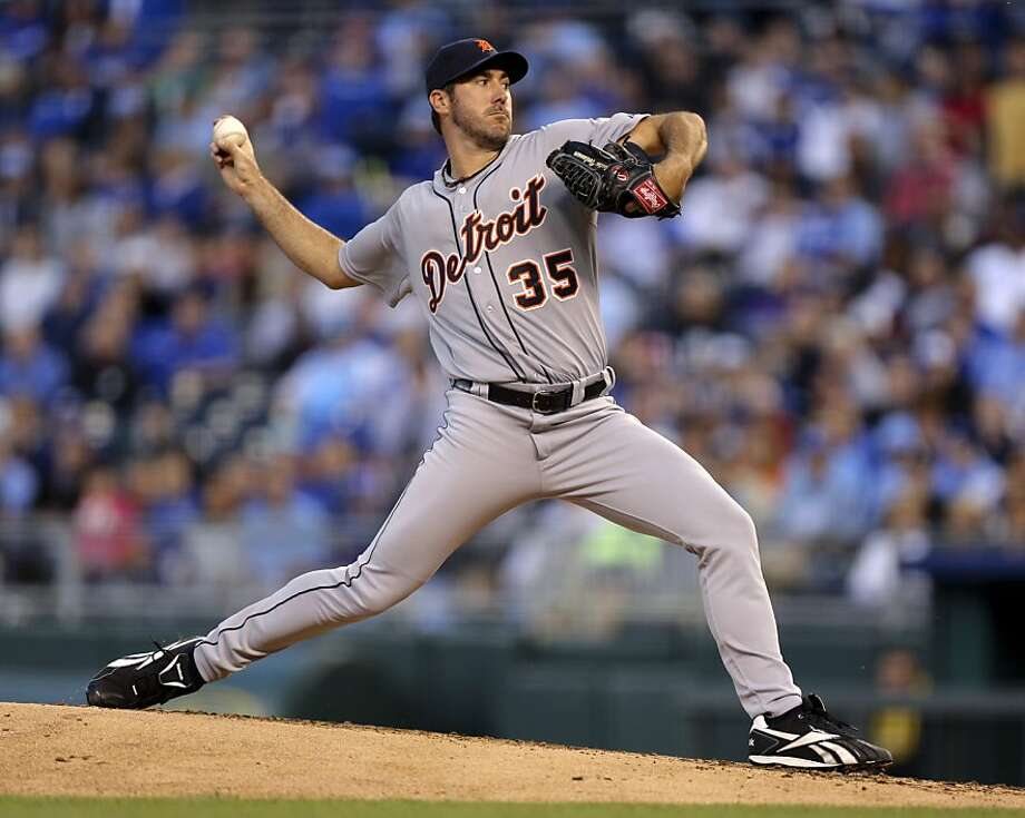 KANSAS CITY, MO - APRIL 16:  Justin Verlander #35 of the Detroit Tigers pitches against the Kansas City Royals in the second inning April 16, 2012 at Kauffman Stadium in Kansas City, Missouri. (Photo by Ed Zurga/Getty Images) Photo: Ed Zurga, Getty Images
