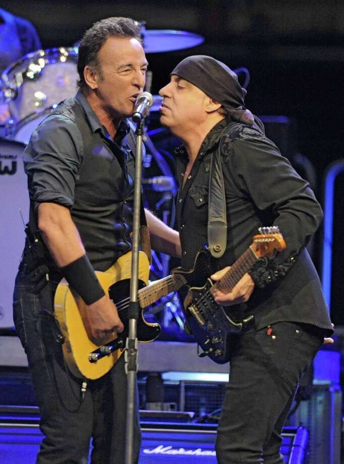 Bruce Springsteen sings with Steve Van Zandt of the E-Street Band at a sold out performance at the Times Union Center on April 16, 2012 in Albany, N.Y. (Lori Van Buren / Times Union) Photo: Lori Van Buren, Albany Times Union / 00017239A