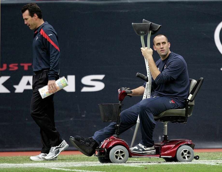 Quarterback Matt Schaub, shown with coach Gary Kubiak at a game last season, expects to return from his foot injury in time for training camp. Photo: Brett Coomer, Houston Chronicle / © 2012  Houston Chronicle