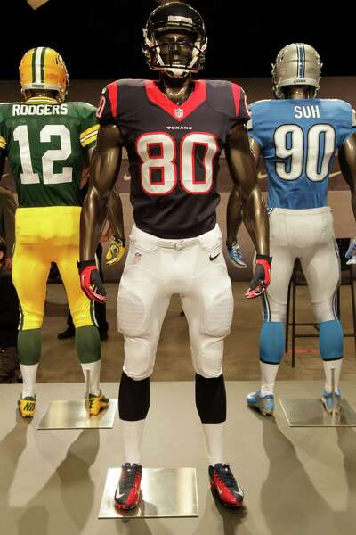 The new Houston Texans uniform is displayed on a mannequin in New York 41fb81135