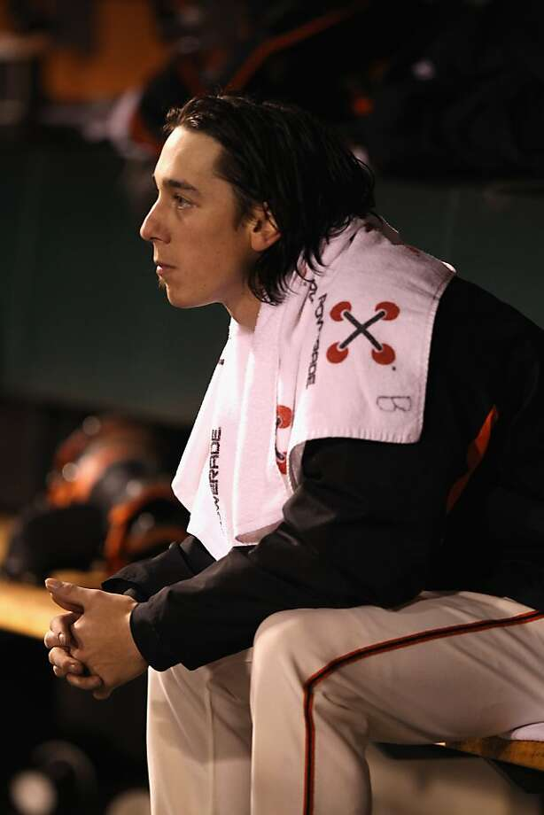 SAN FRANCISCO, CA - APRIL 16:  Tim Lincecum #55 of the San Francisco Giants sits in the dugout during their game against the Philadelphia Phillies at AT&T Park on April 16, 2012 in San Francisco, California.  (Photo by Ezra Shaw/Getty Images) Photo: Ezra Shaw, Getty Images