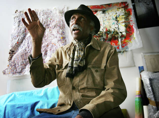 Artist Adger Cowans discusses his work in his studio in the Read's Artspace building in Bridgeport on Tuesday, April 17, 2012. Photo: Brian A. Pounds / Connecticut Post