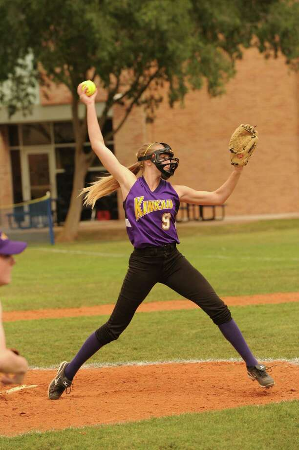 The Kinkaid School softball team played a game against Duchesne Academy, 4-13-2012.   Kinkaid starting pitcher # 9 junior DRienzi Reckling. Photo: Eddy Matchette / Freelance