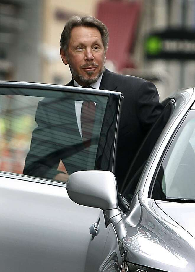 Oracle CEO Larry Ellison leaves the Phillip Burton Federal Courthouse in San Francisco, Calif. on Tuesday, April 17, 2012 after testfying in his lawsuit trail against Google. Oracle claims Google stole Oracle-owned Java technology to use in its Android mobile operating system. Photo: Paul Chinn, The Chronicle