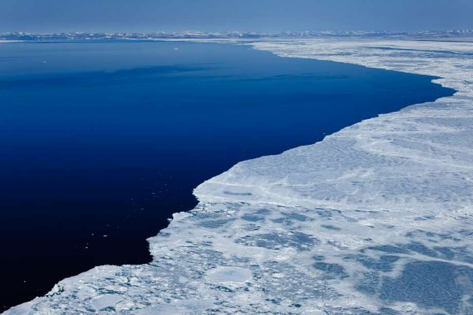 A large lead develops north of Point Hope in the Chukchi Sea, Alaska, during sea ice breakup in late May.  President Trump signs an executive order designed to reopen the Chukchi Sea to oil drilling. (Florian Schulz / visionsofthewild.com)
