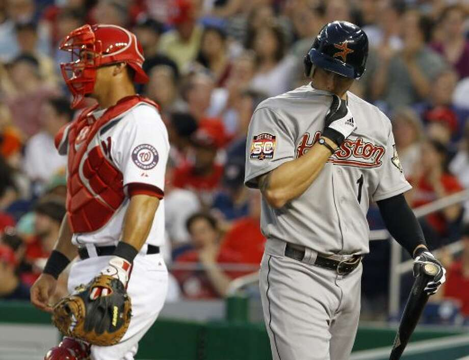 April 16: Nationals 6, Astros 3Jordan Schafer (1) walks away from the plate after striking out against Nationals pitcher Stephen Strasburg during the third inning of Monday's game at Nationals Park in Washington. (Ann Heisenfelt / Associated Press)