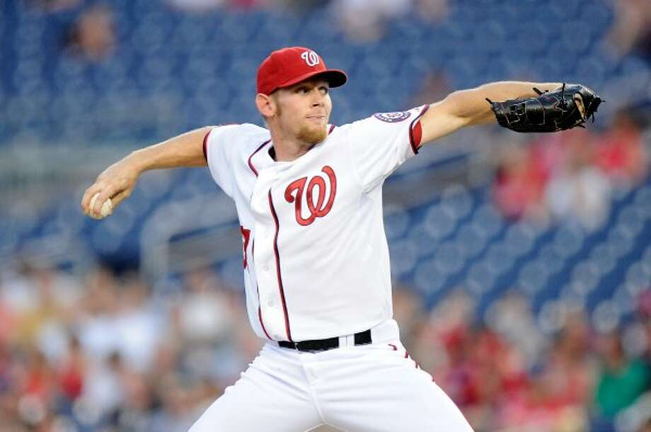 """Nationals pitcher Stephen Strasburg has an """"inverted W"""" throwing motion."""