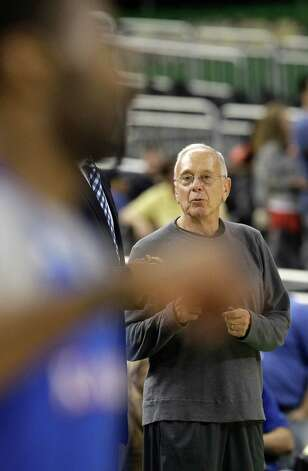 Former Kansas coach Larry Brown watches during a practice session for the NCAA Final Four basketball tournament Friday, March 30, 2012, in New Orleans. Photo: AP