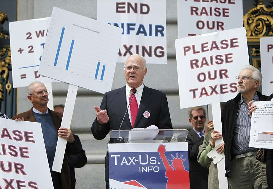 John K. Stewart, Chairman of The John Stewart Company, who heads the coalition, is a key speaker at the rally at City Hall on Tax day, in San Francisco, California on Tuesday, April 17, 2012. Photo: Jill Schneider