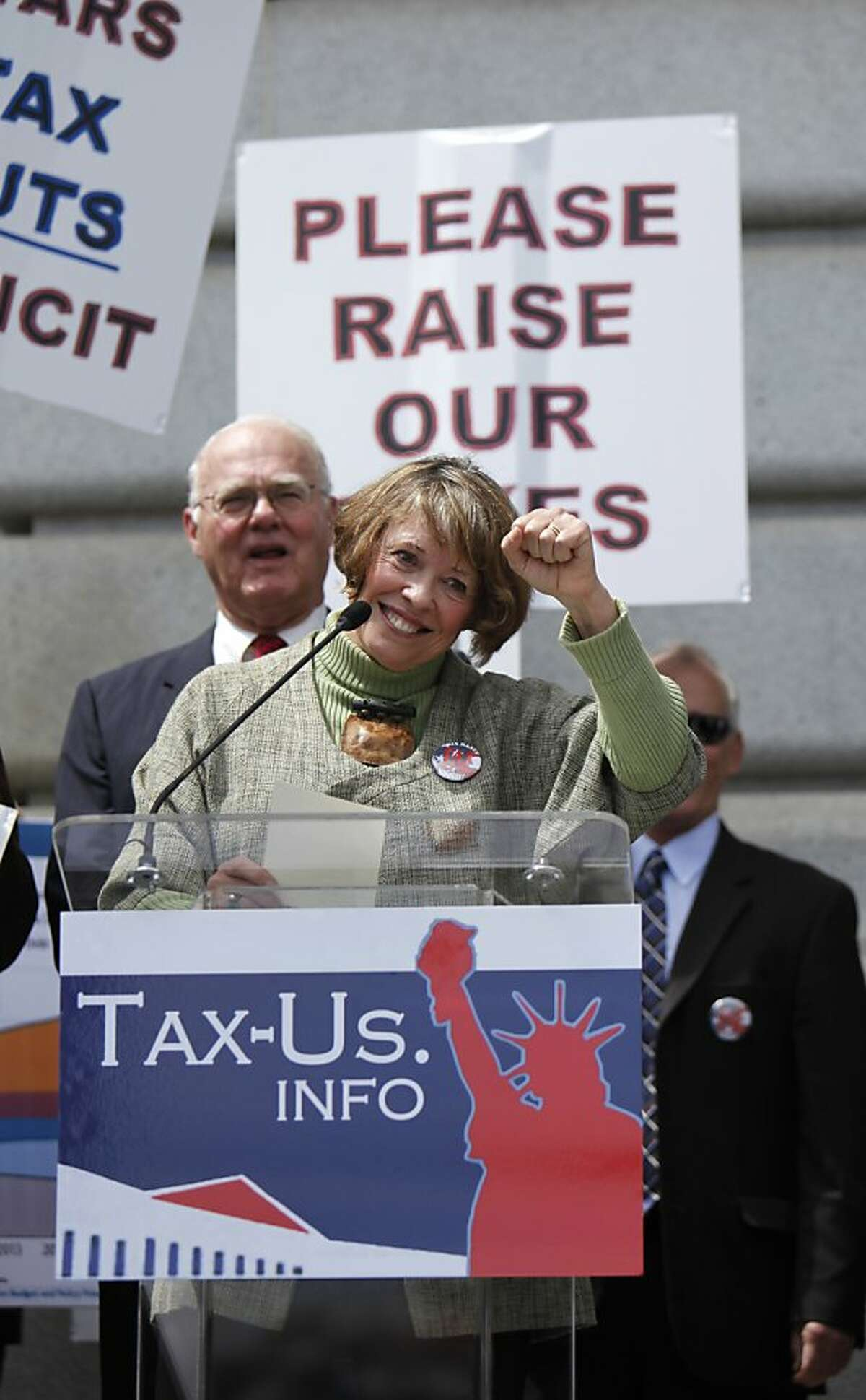 Judy O'Shea, Biotech Investor/Advisor is a key speaker at the rally at City Hall on Tax day, in San Francisco, California on Tuesday, April 17, 2012.