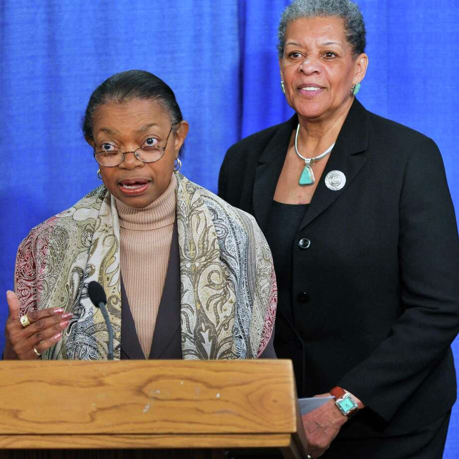 NYS Senators Velmanette Mongomery, left, and Ruth Hassell-Thompson during  news conference calling on the New York State Assembly to pass legislation barring the use of condoms as evidence of prostitution during a press conference  at the Capitol Tuesday April 17, 2012.   (John Carl D'Annibale / Times Union) Photo: John Carl D'Annibale / 00017276A