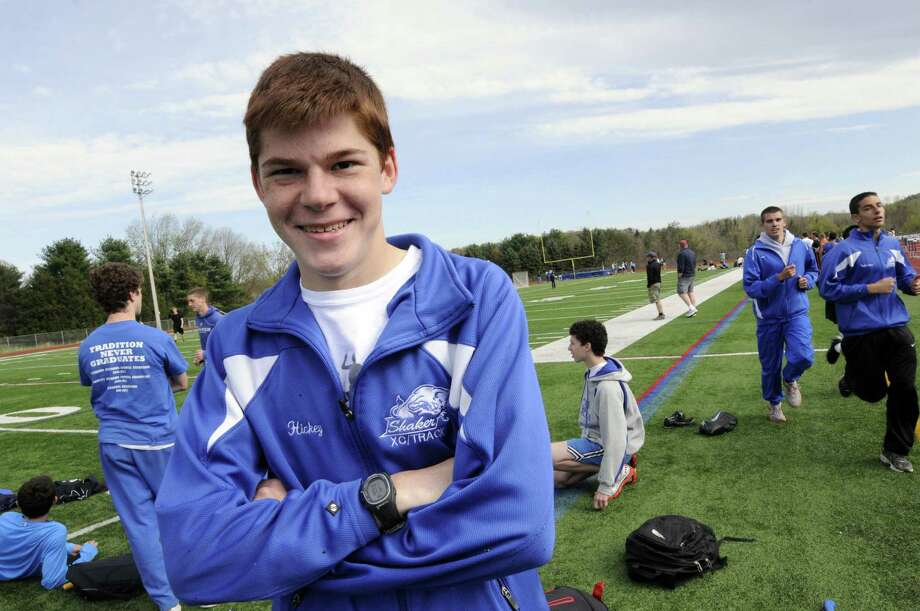 Shaker High School runner Brian Hickey during a meet at Columbia High School in East Greenbush N.Y. Tuesday April 17, 2012. (Michael P. Farrell/Times Union) Photo: Michael P. Farrell