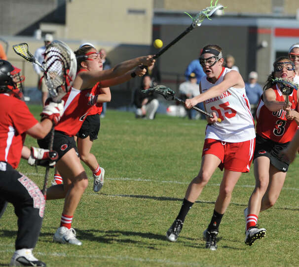 Niskayuna's Cara Quimby scores agains Guilderland during a lacrosse game on April 17, 2012 in Niskay