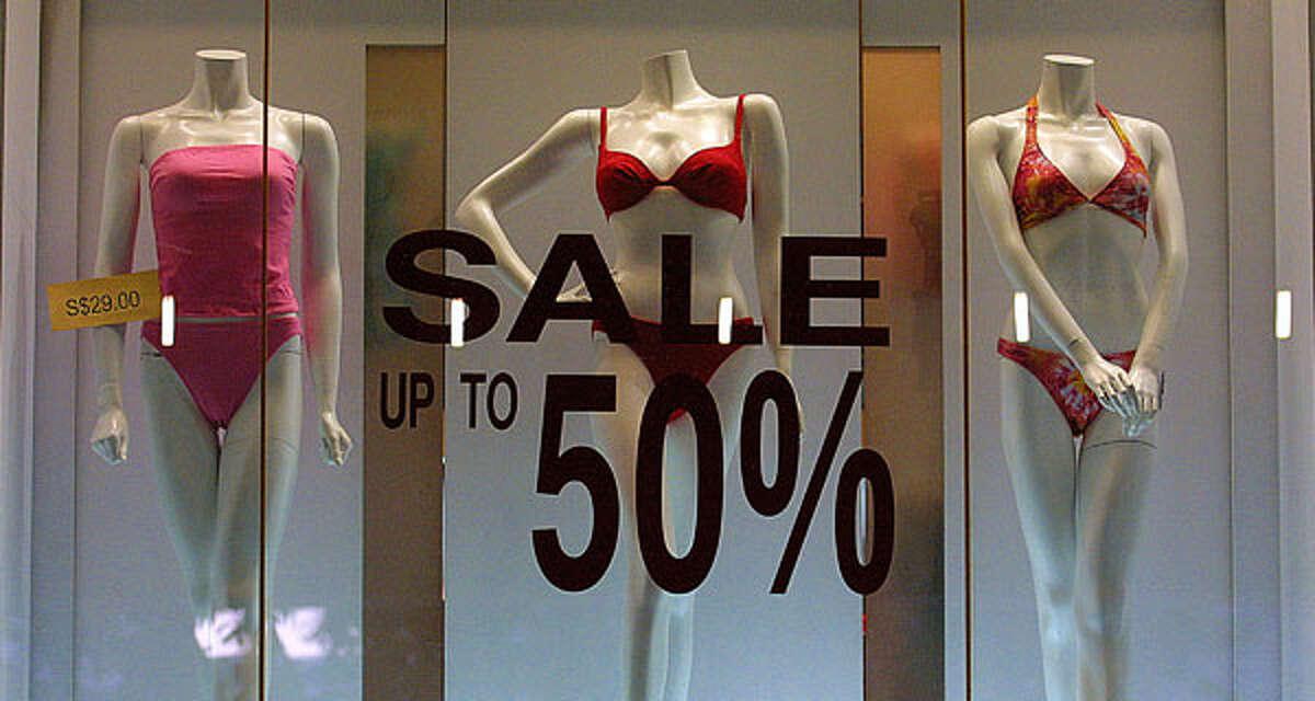 It's still raining but stores have bikinis on sale. - Lara on Facebook