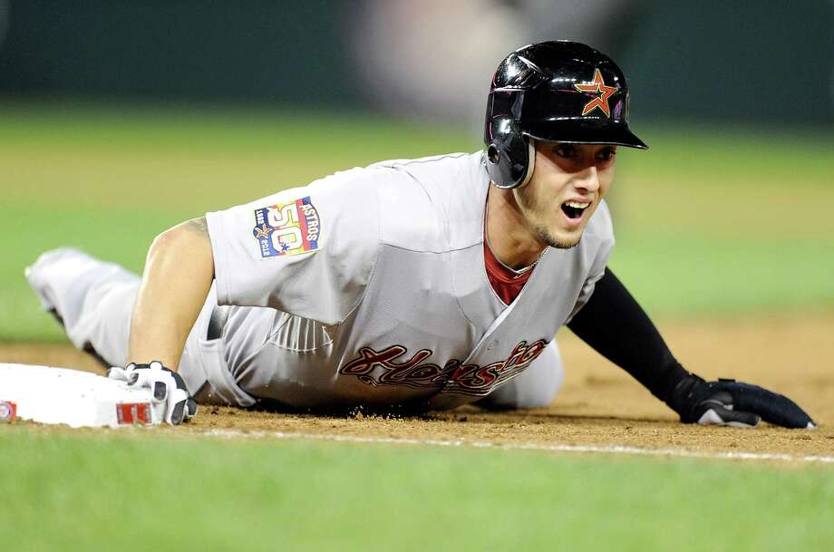 Jordan Schafer and his fellow bat mates couldn't muster any support for starter Wandy Rodriguez as the Astros lost to the Nationals. Photo: Greg Fiume / 2012 Getty Images