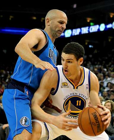 Dallas Mavericks' Jason Kidd guards Golden State Warriors' Klay Thompson during the first half of an NBA basketball game Thursday, April 12, 2012, in Oakland, Calif. Photo: Lance Iversen, The Chronicle